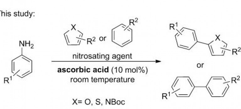 Ascorbic Acid as an Initiator for the Direct C-H Arylation of (Hetero)arenes with Anilines Nitrosated In Situ