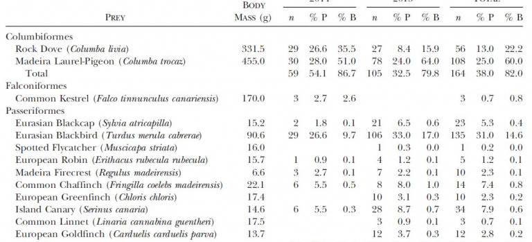 Food habits of the Macaronesian Sparrowhawk (Accipiter Nisus Granti) on Madeira